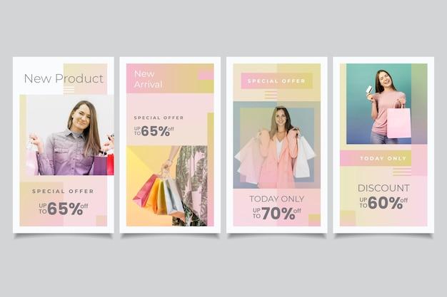 Ensemble d'histoires instagram de vente dégradé