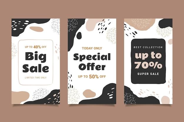 Ensemble d'histoires instagram de vente dessinés à la main