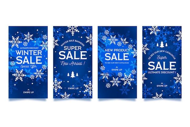 Ensemble d'histoires instagram de vente d'hiver design plat