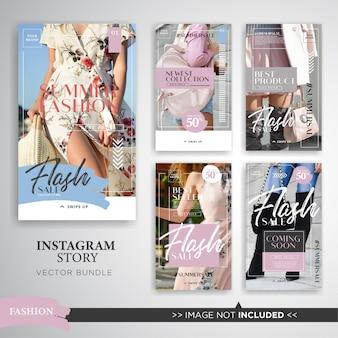 Ensemble d'histoires instagram de la vente de mode estivale