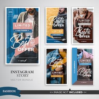 Ensemble d'histoires instagram de vente de mode homme