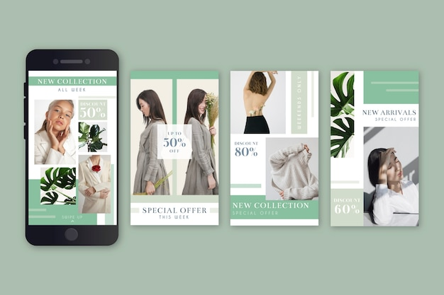 Ensemble d'histoires instagram de vente de mode