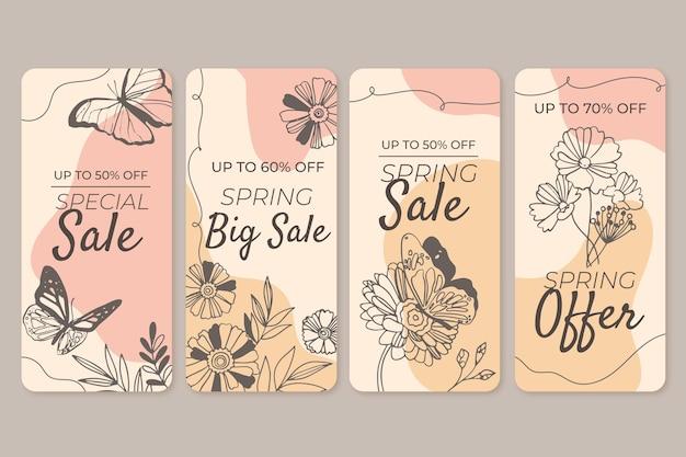 Ensemble d'histoires instagram de vente de printemps dessinés à la main