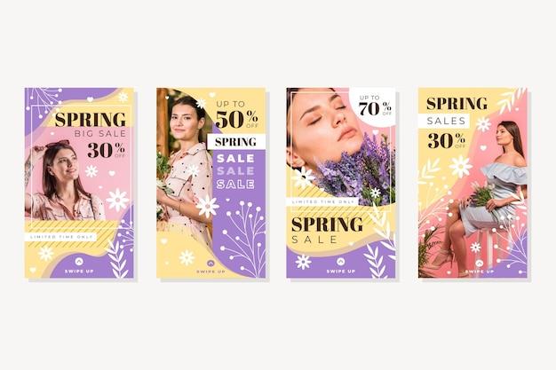 Ensemble d'histoires instagram de vente de printemps plat