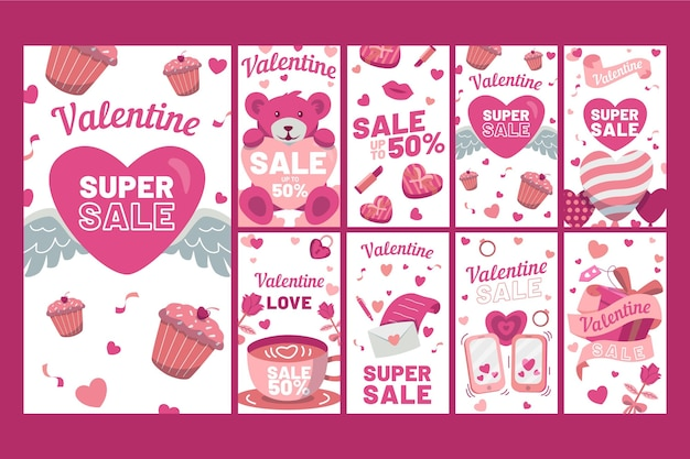 Ensemble D'histoires Instagram Vente Saint Valentin Vecteur gratuit