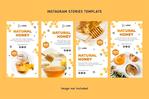 Ensemble d'histoires de médias sociaux au miel