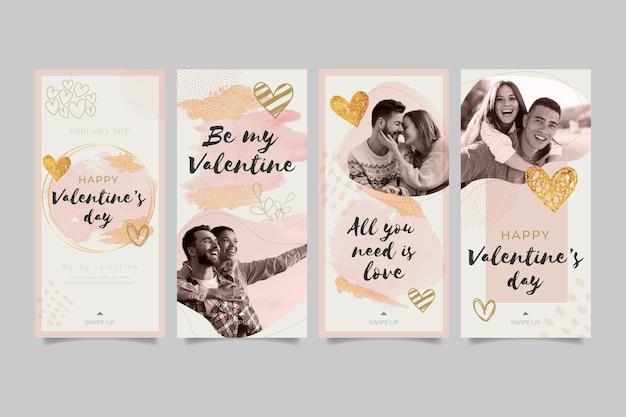 Ensemble d'histoires de médias sociaux pour la saint-valentin