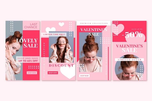 Ensemble d'histoires de vente modernes pour la saint-valentin