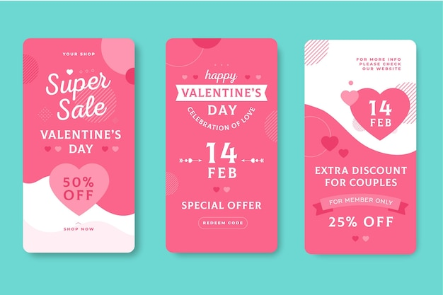 Ensemble d'histoires de vente saint valentin