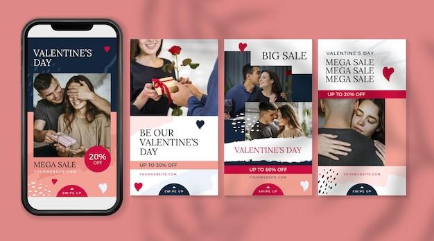 Ensemble d'histoires de vente de la saint-valentin