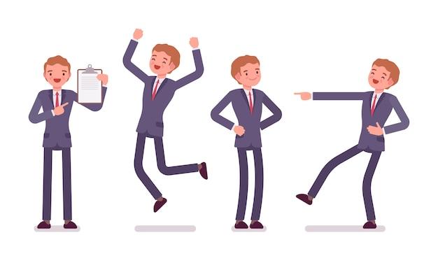 Ensemble d'homme d'affaires montrant des émotions positives