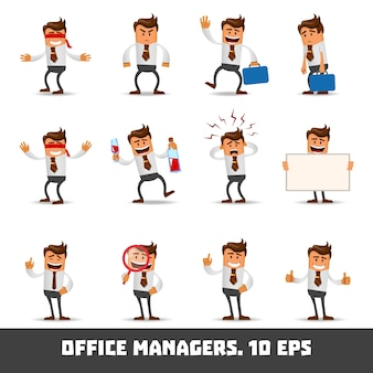 Ensemble de l'homme de bureau heureux