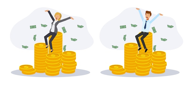 Ensemble d'homme et de femme heureux est assis sur la pile de pièces entourant le billet de banque. concept riche, gagnez le prix. illustration de personnage de dessin animé de vecteur plat.