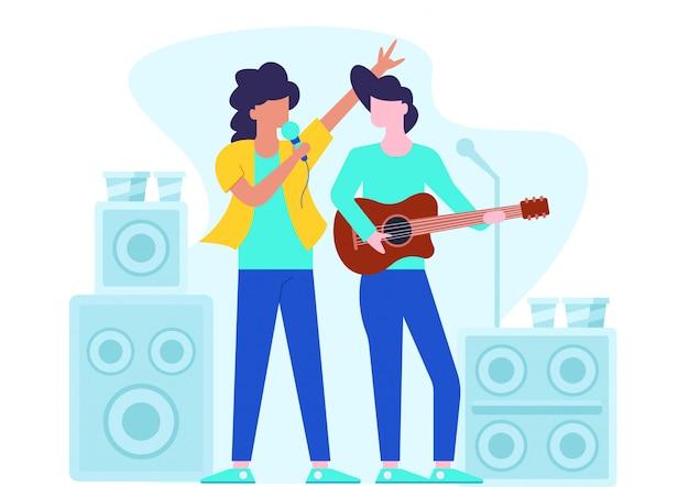 Ensemble d'homme et femme avec instruments de musique.