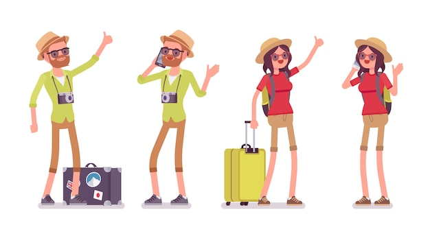 Ensemble homme et femme touristique