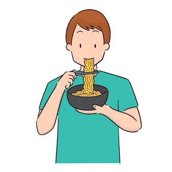 Ensemble d'homme mangent des nouilles