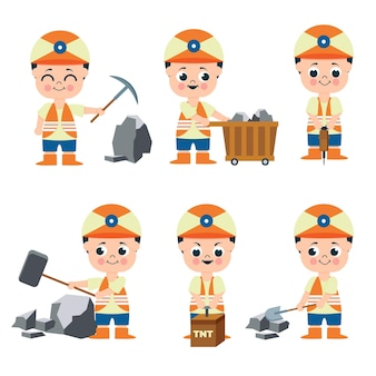 Ensemble d'homme mineur travaillant dans la collection de personnages de dessins animés, illustration isolée