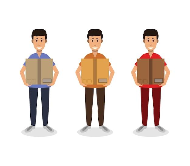 Ensemble, de, homme, tenue, boîte