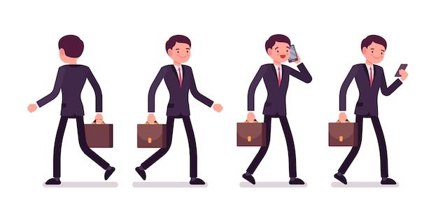 Ensemble d'hommes d'affaires dans des poses de marche, vue arrière et avant