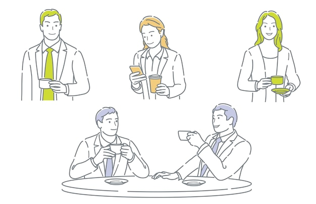 Ensemble d'hommes d'affaires prenant une pause-café isolé sur fond blanc