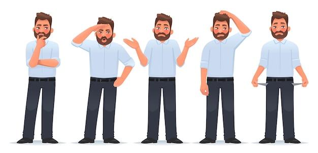 Ensemble d'hommes de caractère dans différentes actions, l'homme d'affaires pense que les recherches haussent les épaules et montrent les poches vides