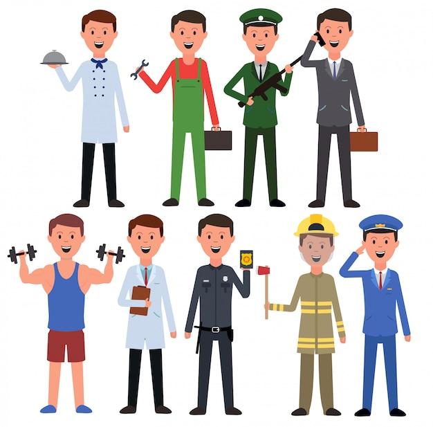 Ensemble d'hommes avec différentes professions