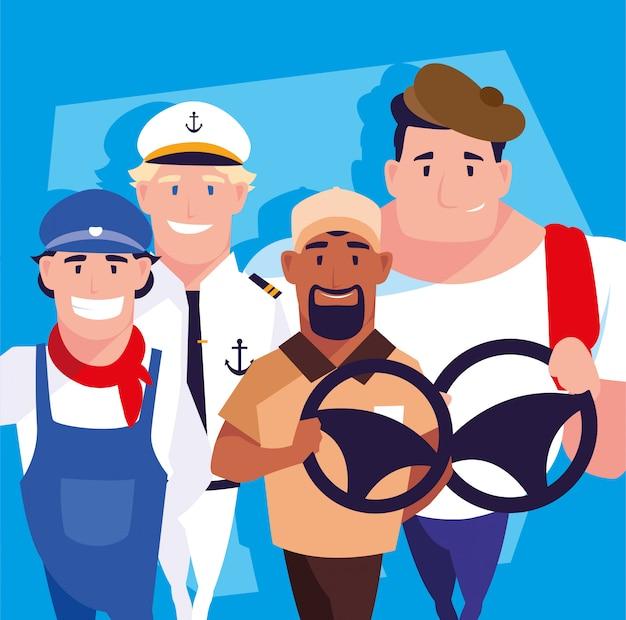 Ensemble d'hommes avec différents métiers de pilotes