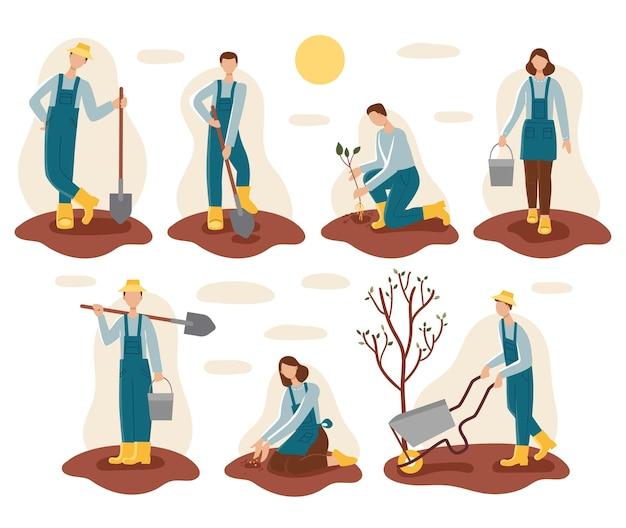 Ensemble des hommes et des femmes dans les travaux de jardinage