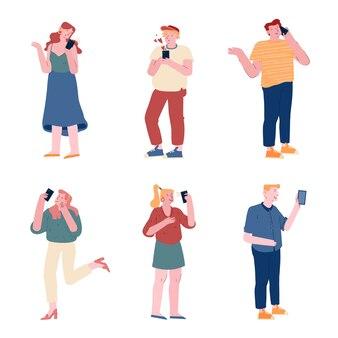 Ensemble d'hommes et de femmes tenant des téléphones mobiles