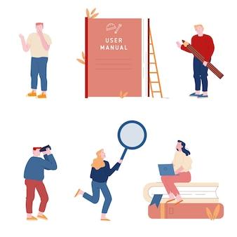 Ensemble d'hommes et de femmes utilisant un guide manuel