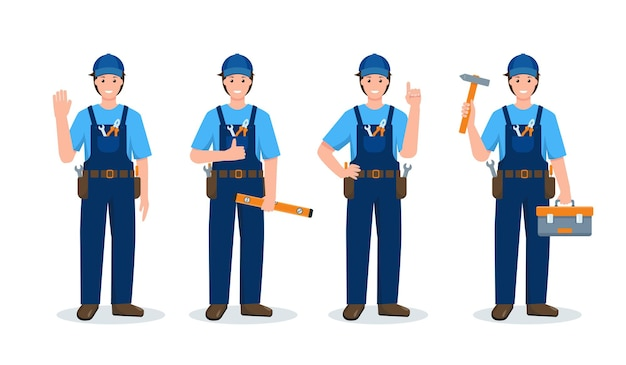 Ensemble d'hommes de réparation ou d'ouvrier du bâtiment dans différentes poses et gestes en uniforme avec des outils de travail
