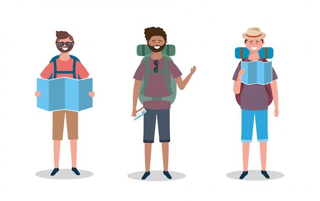 Ensemble d'hommes avec sac à dos et carte du monde avec des lunettes de soleil