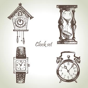 Ensemble d'horloges et de montres dessinés à la main