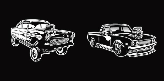 Ensemble de hotrod vintage dans des voitures de style rétro monochrome vecteur premium
