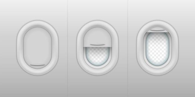 Ensemble de hublots réalistes avec abat-jours en plastique ouverts, fermés et semi-ouverts. fenêtres d'avion ou d'avion avec volet fermé et ouvert.