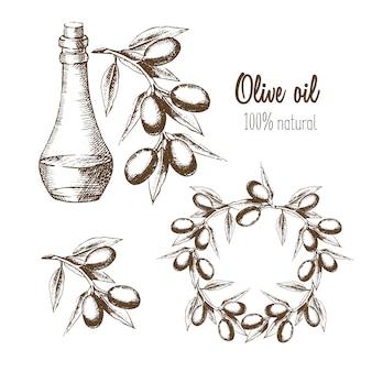 Ensemble d'huile d'olive, de branches et de couronnes. produit naturel. illustration dans une esquisse de style graphique.