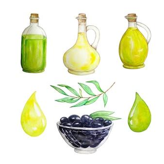 Ensemble d'huile d'olive dessinée à la main illustration aquarelle dans une bouteille en verre.