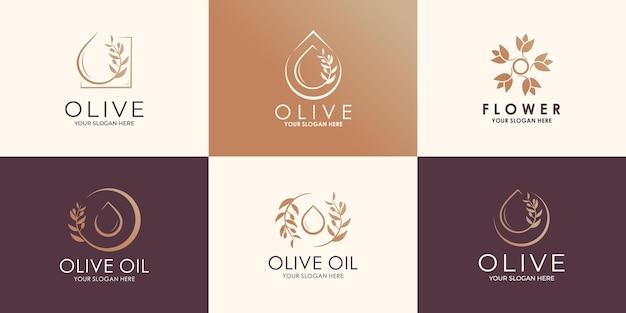 Ensemble d'huile d'olive, de fleurs et de feuilles naturelles créatives. logo combiné