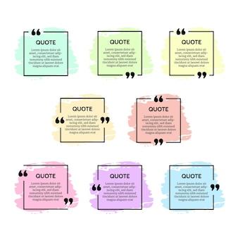 Ensemble de huit cadres de boîte de citation carrée noire avec des frottis de couleur isolés sur fond blanc. illustration vectorielle