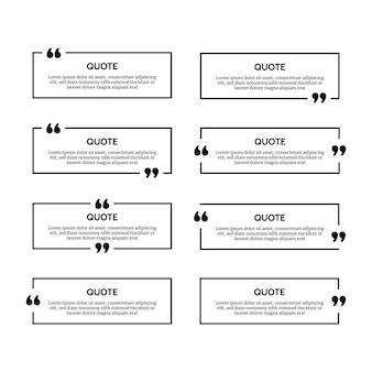 Ensemble de huit cadres de boîte de citation rectangulaires noirs isolés sur fond blanc. illustration vectorielle