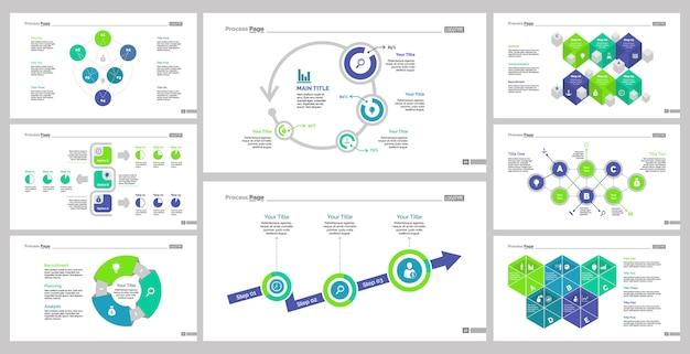 Ensemble de huit modèles de diapositives en équipe