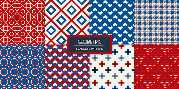 Ensemble de huit motifs transparents sans soudure géométriques