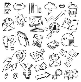 Ensemble d'icône d'affaires dans le style de doodle