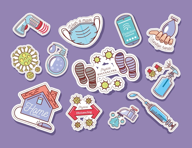 Ensemble d'icône d'autocollant illustration protection et prévention coronavirus covid 19