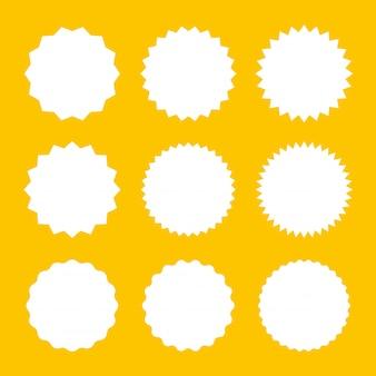 Ensemble d'icône de badges starburst. autocollants sunburst pour prix, promo, qualité, étiquettes de vente.