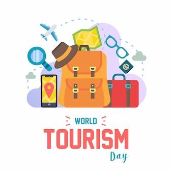 Ensemble d'icône colorée de la journée mondiale du tourisme
