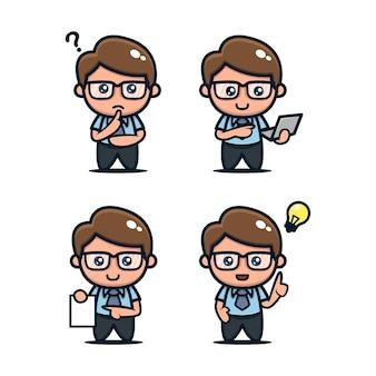 Ensemble d'icône de conception mascotte nerd geek mignon illustration