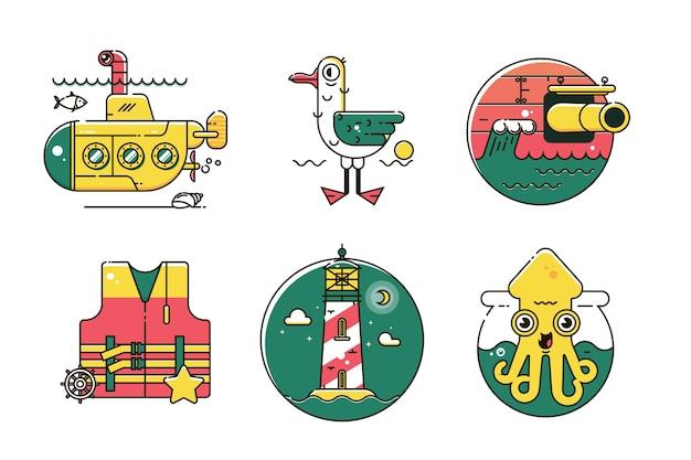 Ensemble d'icône de couleur de ligne marine nautique