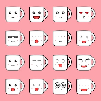 Ensemble d'icône de dessin animé mignon mug émoticône illustration vectorielle. conception isolée sur rose. style de dessin animé plat.