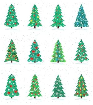 Ensemble d'icône de différents arbres de noël